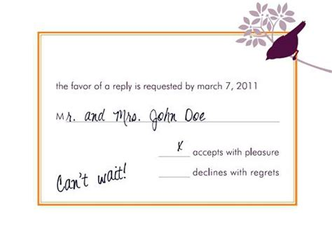 Formal Wedding Invite Response Card by How To Fill Out A Rsvp Wedding Invitation Mind Your Formal