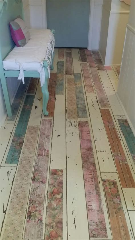 Repurposed laminate flooring. Painted, decoupaged and