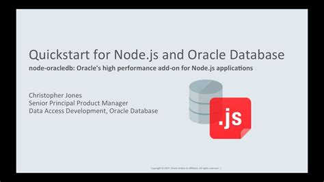simple node js database quickstart for node js and oracle database youtube