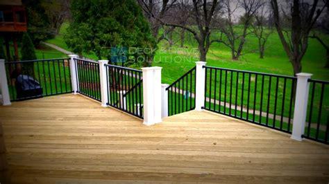 treated deck  black westbury railing  white posts