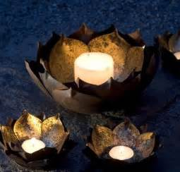 Lotus Candle Gold Leafed Metal Lotus Flower Candle Bowls Eclectic Candleholders By Mothology