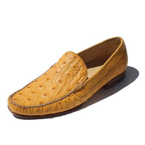 ostrich skin loafers alan payne yellow genuine ostrich loafers