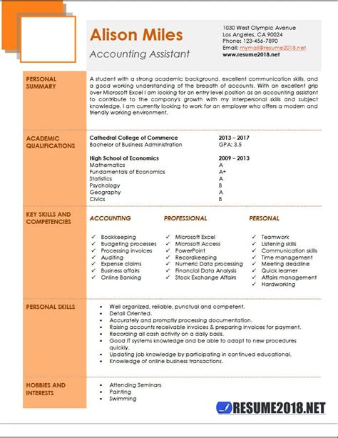 Cv Sles Word by Cv Format For Accounts Assistant Accounting