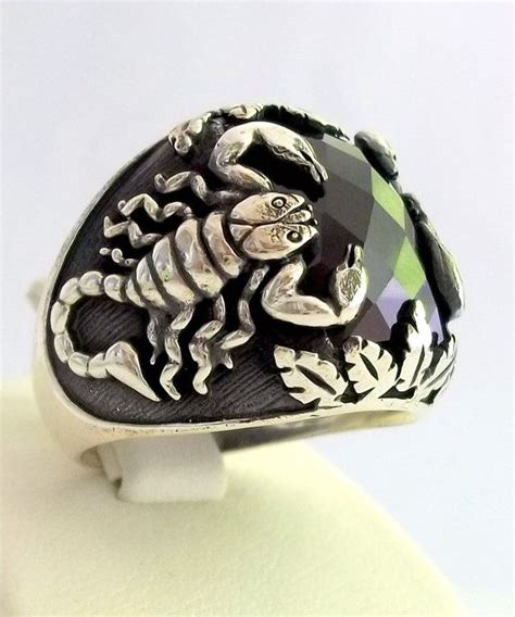 Cincin Rock Headsets Skull Eye Stainless Steel 925 sterling silver s ring with scorpion by