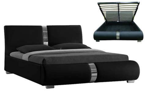 lit coffre sommier relevable noir vitara 140 cm lits
