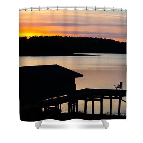 dock curtains dock sunset shower curtain by parker cunningham