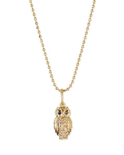 sydney evan 14k gold owl pendant necklace