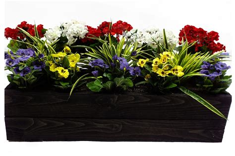 artificial window box plants artificial pansy and geranium flower box at evergreen direct