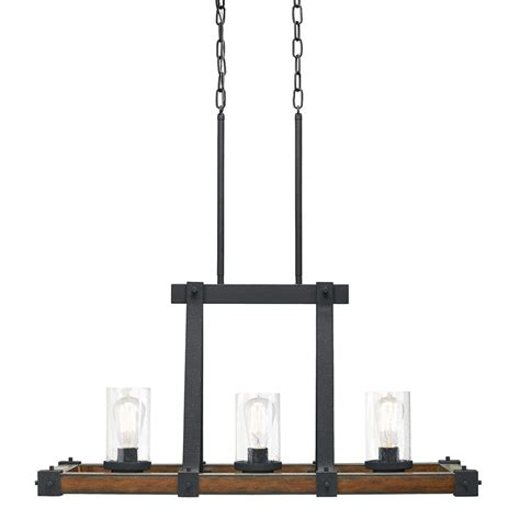 kitchen island chandelier lighting shop kichler barrington 12 01 in w 3 light distressed black and wood rustic lodge kitchen island