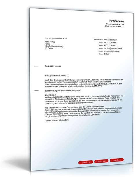 Angebot Nachfragen Vorlage anschreiben arbeitsmedizinische angebotsvorsorge vorlage zum