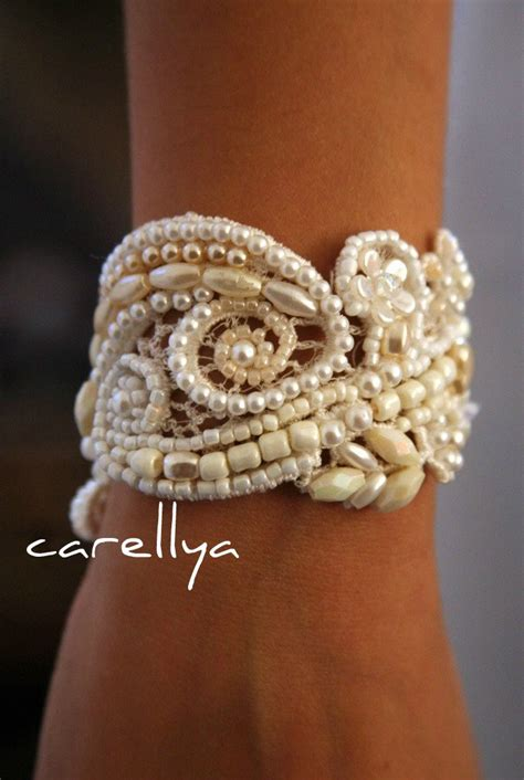 beaded cuffs pearl cuff bracelet vintage beaded lace bridal cuff wedding