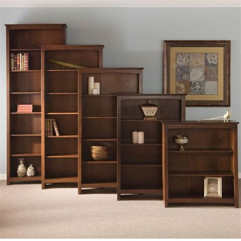 arch top espresso shaker wood bookcases