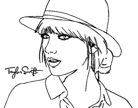 coloring pages name taylor taylor swift with her hat coloring page to print online