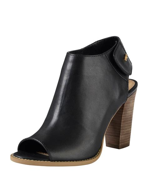 Peep Toe Booties Galore by Cole Haan Wrey Peep Toe Leather Bootie In Black Lyst