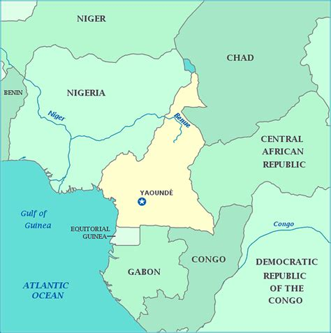 yaounde africa map map of nigeria and cameroon