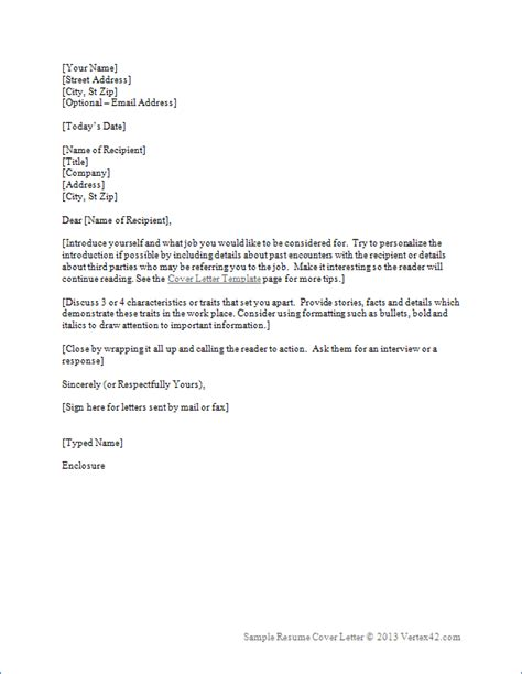 Word Template Cover Letter For Resume | resume cover letter template for word sle cover letters