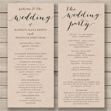 order of service template word wedding program template printable wedding program diy