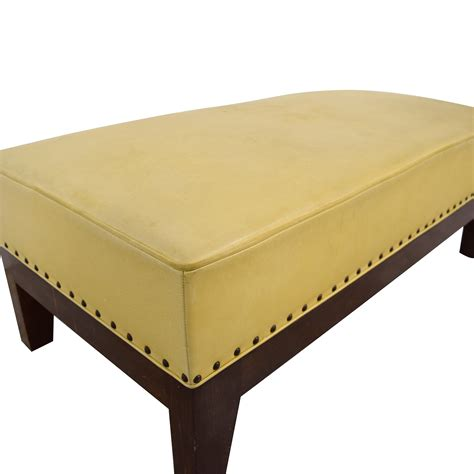 leather nailhead ottoman 80 off custom mustard yellow leather nailhead ottoman