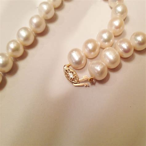 large 10mm cultured freshwater pearl necklace 14k gold