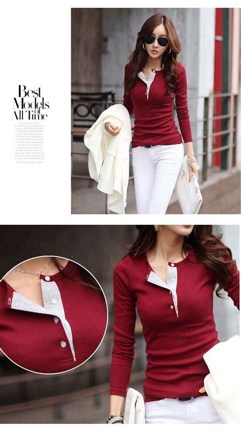 Kaos Lengan Panjang Impor Korea kaos wanita import lengan panjang model terbaru jual