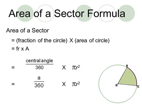 area of a section of a circle formula area circumference sectors ppt video online download