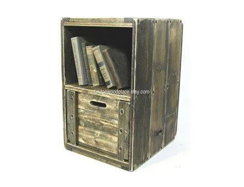 Crate Bedside Table Wood Crate Furniture Side Table Wooden End Table Solid