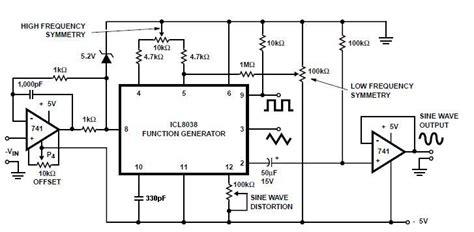 icl8038 function generator circuit diagram circuit and