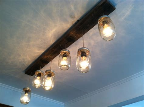 Pendants For Kitchen Island by Mason Jar And Wood Track Lighting By Lengaresdesign On Etsy