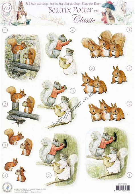 Beatrix Potter Decoupage - beatrix potter s rabbit 15 squirrel nutkins 3d