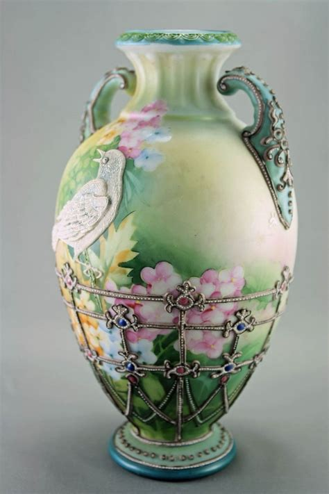 hand painted porcelain ls vintage vase w bird my dream china closet pinterest