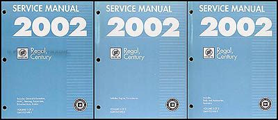 best car repair manuals 2002 buick regal electronic valve timing 2002 buick regal century repair shop manual original 3 volume set