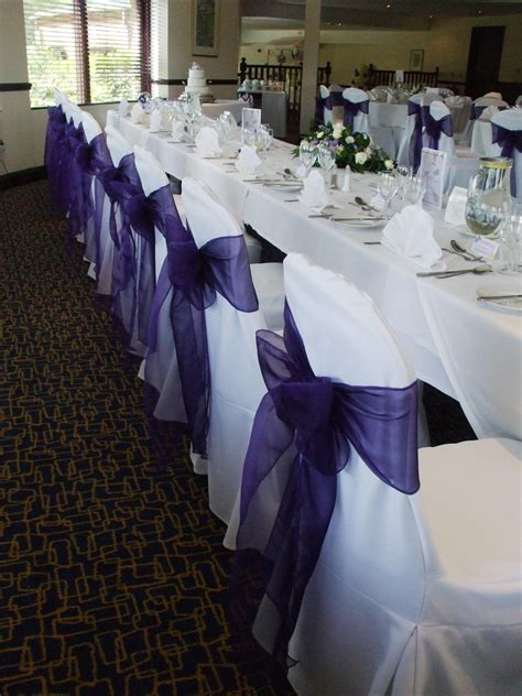 purple chair sashes wedding cadbury purple wedding