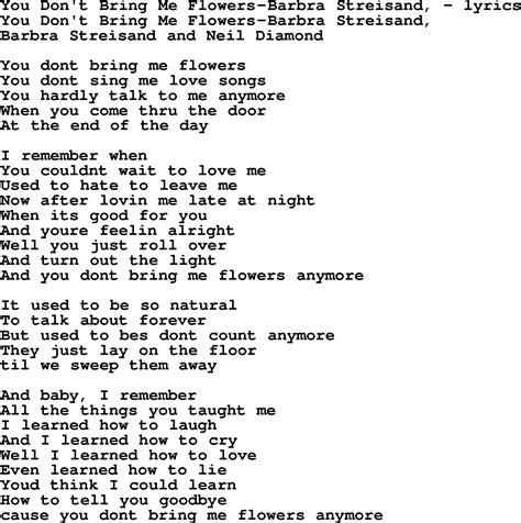 song lyrics for you don t bring me flowers barbra