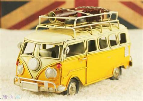 yellow blue small size vintage tinplate vw bus model