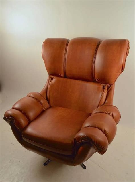 Overstuffed Chairs For Sale Overstuffed Vinyl Swivel Tilt Lounge Chair For Sale At 1stdibs