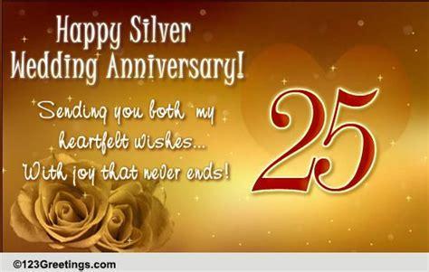 Silver Wedding Anniversary! Free Milestones eCards