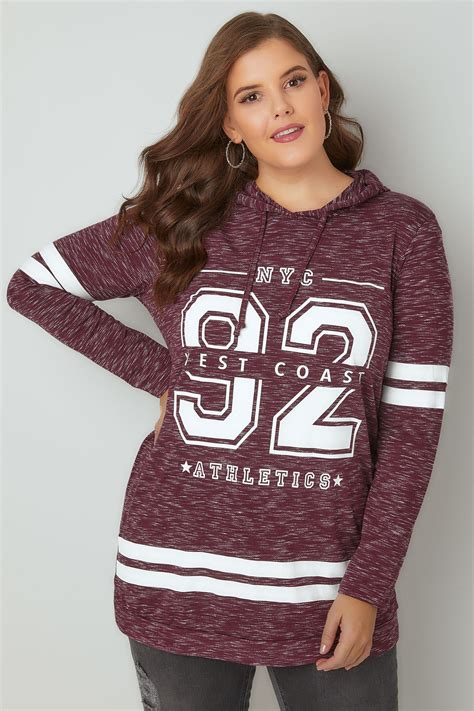 Win 100 Of Vouchers Catwalk 2 by Burgundy Varsity Slogan Print Hooded Sweatshirt Plus Size