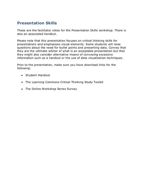 Presentation Skills Facilitator Guide Strang 2011 Workshop Facilitator Contract Template