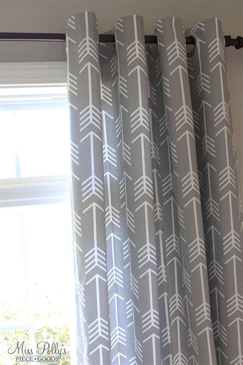 Lined Drapes In Arrow Fabric By Miss Polly S Piece Goods Fabric For Nursery Curtains