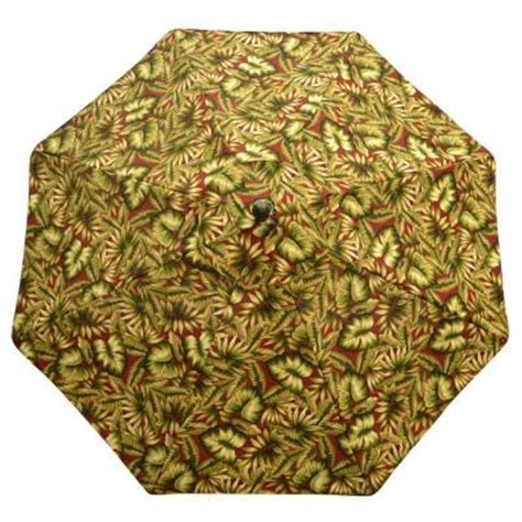 naturally playful leaf pattern umbrella plantation patterns 9 ft patio umbrella in chili leaves
