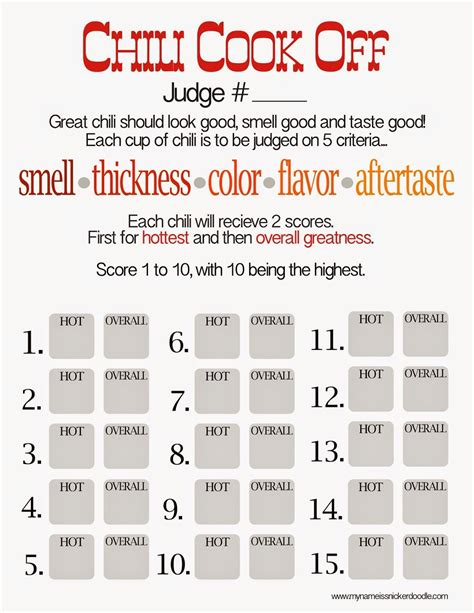 Food Judging Score Card Template by Free Chili Cook Score Card Scores Chili And