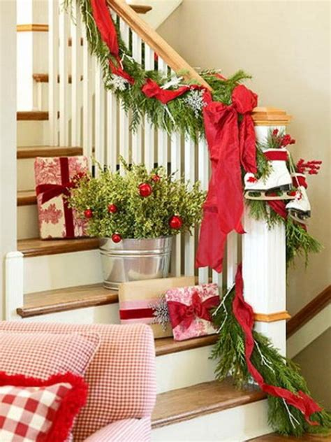 banister christmas ideas 100 awesome christmas stairs decoration ideas digsdigs