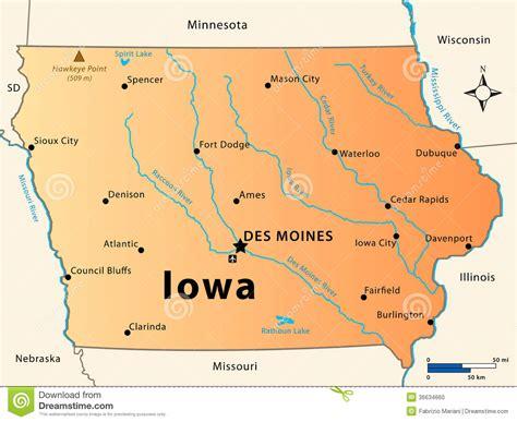 map of iowa rivers iowa map stock photo image 36634660