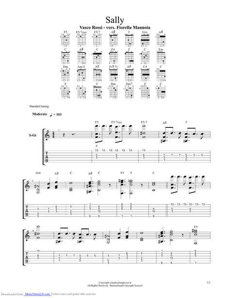 vasco vita spericolata accordi sally guitar pro tab by vasco musicnoteslib