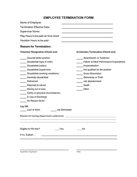 Termination Paperwork Template by 9 Best Images Of Employee Termination Notice Form Free Employee Termination Form Template