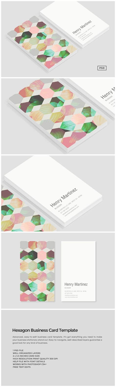 hexgonal card template hexagon business card template business card templates