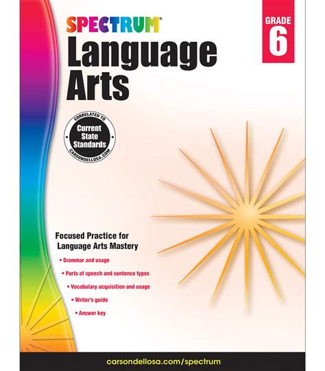spectrum 1 workbook spectrum language arts workbook grade 6 carson dellosa publishing