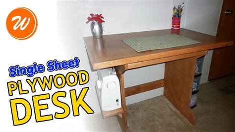 simple plywood desk single sheet diy youtube