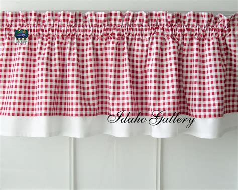 red checked curtains curtain red white check gingham double layered kitchen curtain