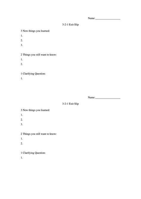 3 2 1 exit slip template 3 2 1 exit slip template printable pdf